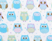 Purple and Blue Pastel Owls - Fabric - BTY