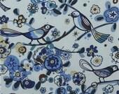 Alexander Henry - Larkspur in Indigo - Cotton Quilting Fabric -1 yard