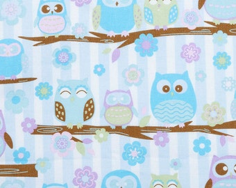 Purple and Blue Pastel Owls on a branch - Fabric - 27 inches - 3/4 yard
