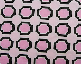 David Textiles - Claire Bella - Flannel - Tiles in Pink and Black - 1 yard - Last yard