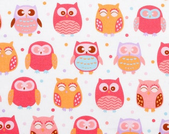 Pink and Purple Pastel Owls - Fabric - 35 inches - End of Bolt