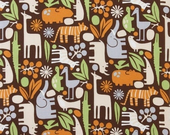 Alexander Henry 2 D Zoo - Chocolate -1/2 yard