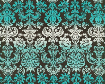 Turquoise Damask - Quilting Cotton Fabric - 25 inches