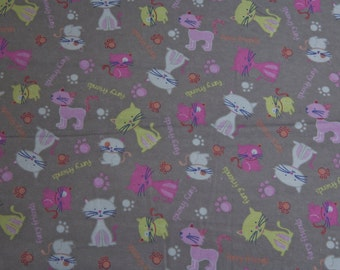 Sale - Grey Kittens - Flannel - 1 yard