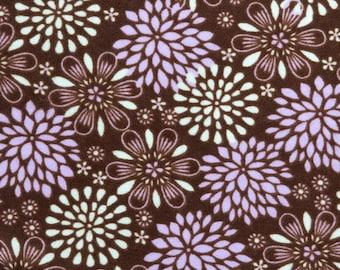 Purple flowers on Brown - Flannel Fabric BTY