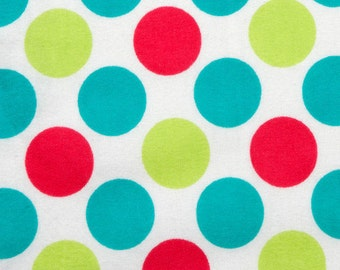 Large Multi Color Dot on White - By the Yard