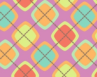 New Multi color  Argyle - Flannel Fabric BTY