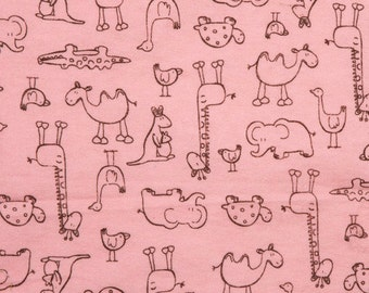 Jungle Animal Outlines - Pink - Cotton FLANNEL Fabric - BTY