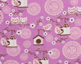 Owl and song birds - By the Yard - Flannel