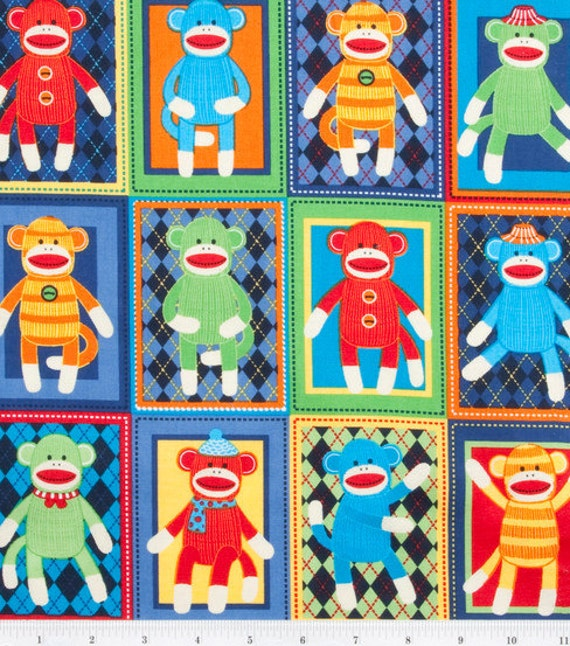 Sock Monkey Squares - Bright - Cotton Fabric 1 yard