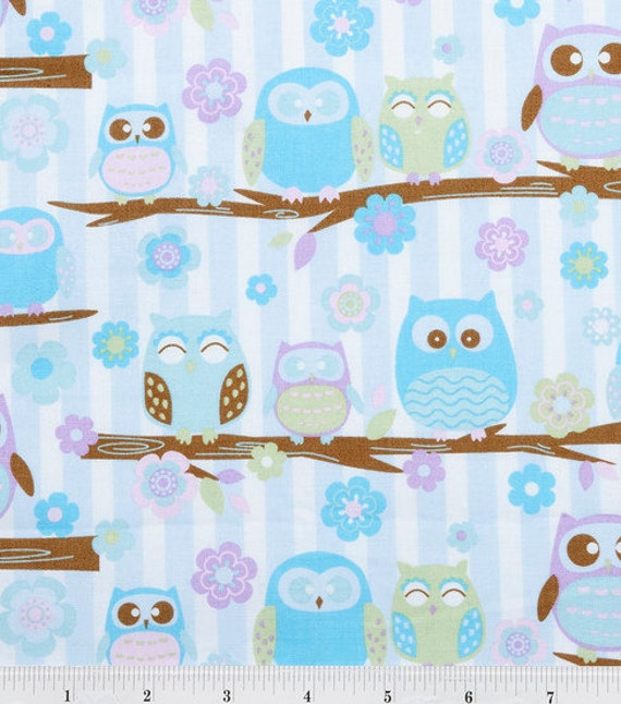 Purple and Blue Pastel Owls on a branch - Fabric - BTY
