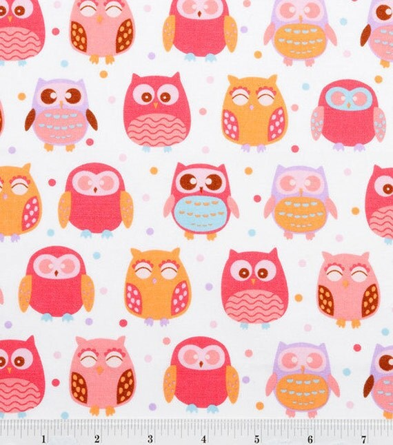 Pink and Purple Pastel Owls Fabric 35 by Sweetbobbinsfabric