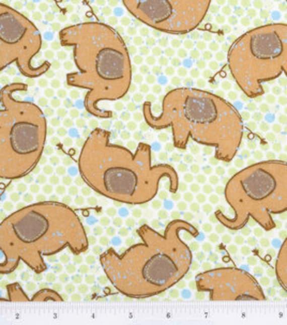 Elephants - Cotton FLANNEL Fabric - BTY