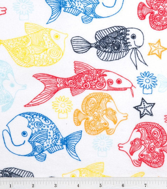 Fish flannel fabric 1 yard for Fish fabric by the yard