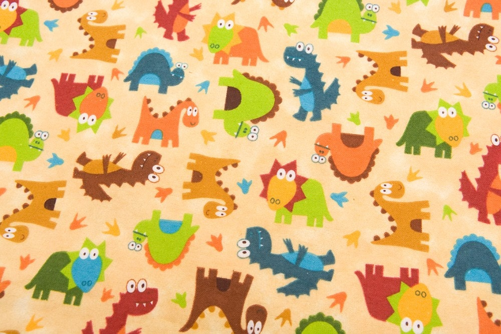 Dinosaur dinosaur cotton flannel fabric 2 yards for Grey dinosaur fabric