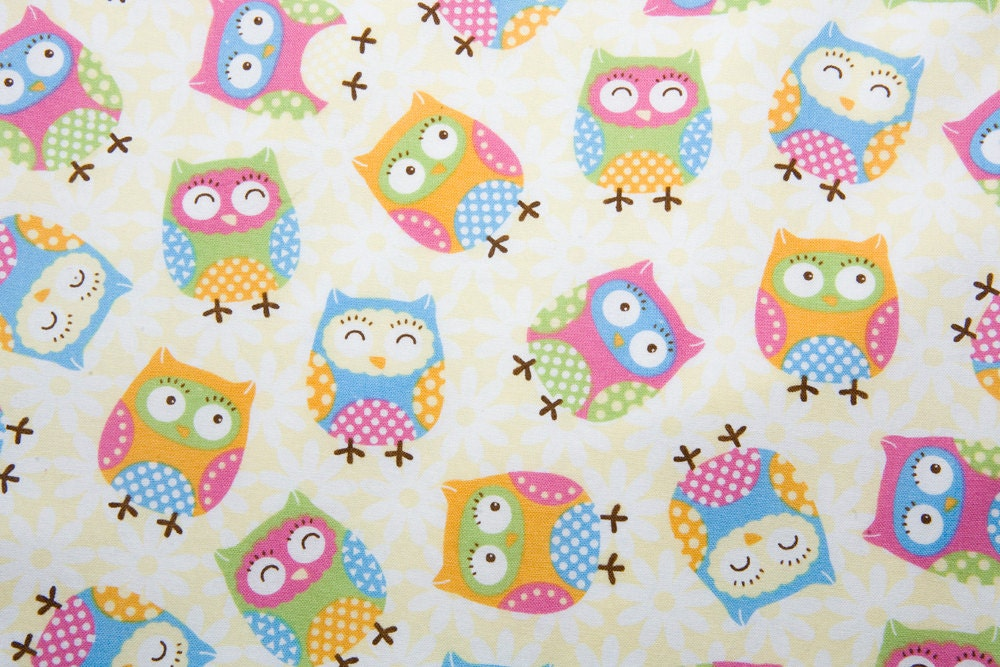 Cute owls fabric cotton remnant 20 inches end of bolt for Cute baby fabric