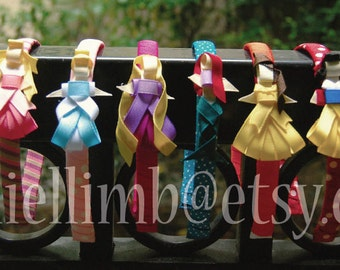 price is for 6 ribbon sculpture disney inspired princess clips or headband