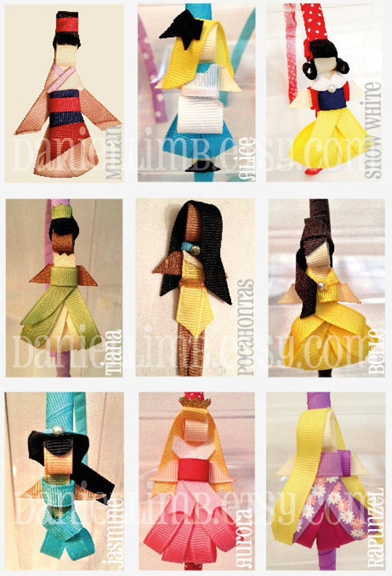 ribbon sculpture disney inspired princess clips or headband (price is for 4) Reserved