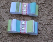 Hair Clips- Pastel Stripes, Set of 2