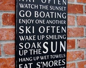Lake House Rules Typography Sign