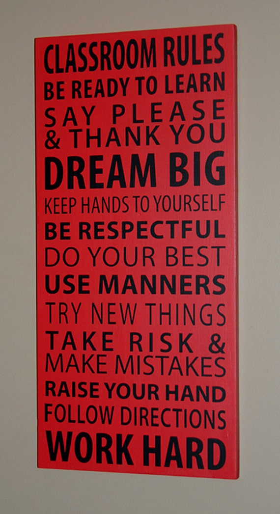 Items similar to Classroom Rules Subway Style Wood Sign on ...