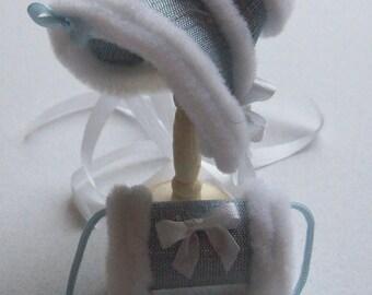 Handmade 1/12 scale dollshouse miniature blue silk bonnet and muff
