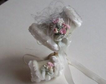 Beautiful handmade 1/12 miniature dollshouse cashmere bonnet and muff
