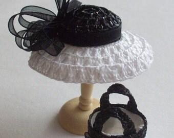 Handmade 1/12 miniature dollshouse black/white straw hat and bag