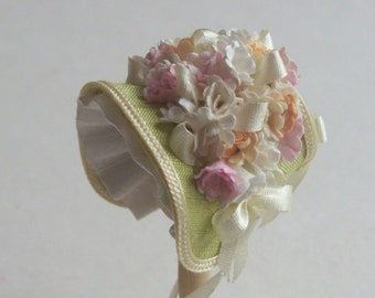 Pale green pretty narrow silk bonnet handmade 1/12th scale dollhouse miniature