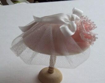 Handmade 1/12 scale dollshouse miniature pale pink silk and net hat