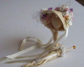 Beautiful handmade 1/12 miniature dollshouse pale gold bonnet and parasol