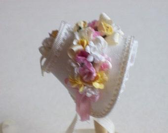 Lovely 1/12 dollshouse handmade  silk narrow spring bonnet