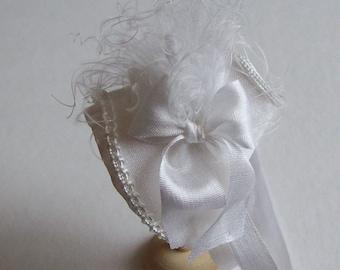 Handmade 1/12 scale dollshouse beautiful small miniature white silk bonnet