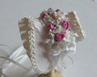 Beautiful miniature 1/12 scale handmade dollshouse ivory silk bonnet