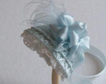 Lovely 1/12 dollshouse handmade blue straw narrow bonnet