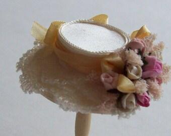 Handmade 1/12 scale dollshouse miniature narrow brim ivory silk flower hat