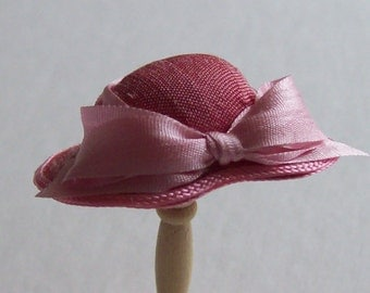 Rose pink narrow brimmed silk hat handmade 1/12th scale dollhouse miniature