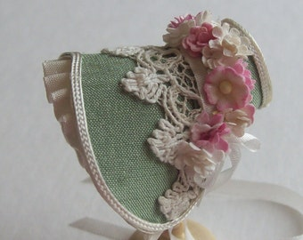 Handmade 1/12th scale dollshouse beautiful green silk bonnet
