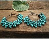 Luxurious  Crochet  Turquoise Dangle Earrings