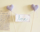 Lavender Wedding Cake Topper with Love Sign by Cherrytime on Etsy