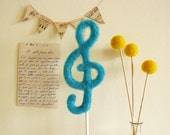 Treble Clef Wedding Cake Topper Something Blue Photo Prop Needle Felted by Cherrytime