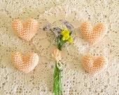 Peach Boutonnieres, Crochet Wedding Pin, Peach Heart Brooch