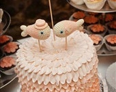 Crochet Wedding Cake Topper, Peach Fish Bride and Groom, Beach Wedding Topper