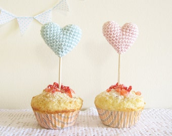 Cup Cake Toppers, Baby Shower Party Decor, Pink and Blue Crochet Hearts