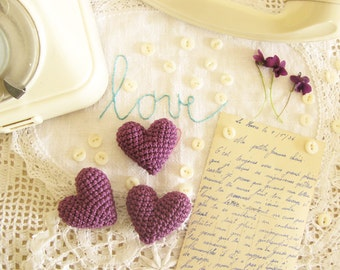 Purple Crochet Hearts for Table Wedding Decoration or Wedding Party Favors