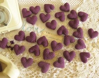 30 Purple Wedding Favors, Bachelorette Favors, Crochet Wedding Hearts, Party Favors,  Purple Table Decor, Heart Favors,