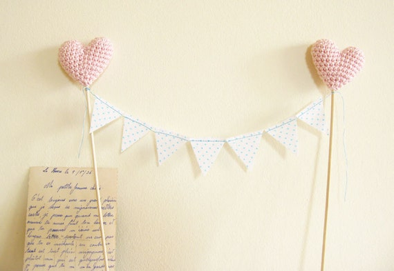 Wedding Cake Topper, Polka Dots Bunting with Pale pink Hearts by Cherrytime