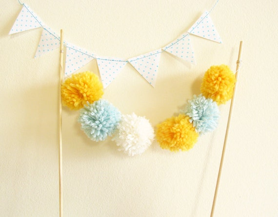 Party Cake Topper Sweet Little Pom Pom Bunting Bridal Shower or Wedding Decor by Cherrytime