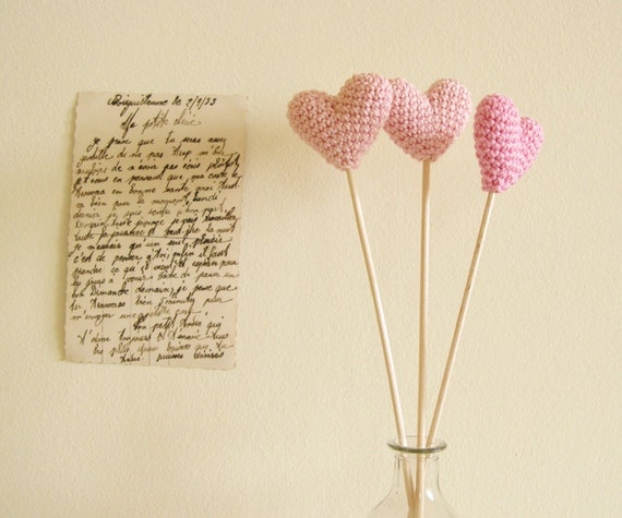 Pink Crochet Hearts, Wedding Table Decor, Hearts on Sticks, Photo Prop