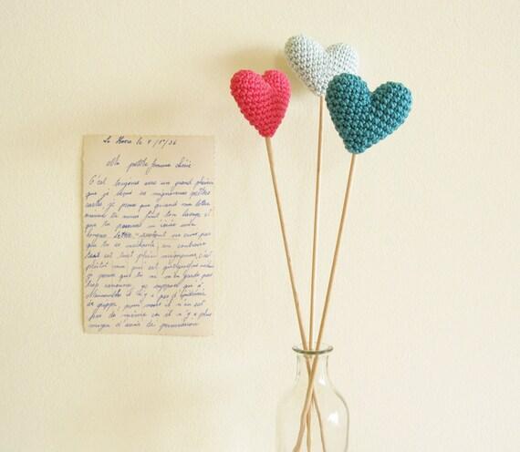 Crochet hearts, Wedding table decor, Hearts on sticks, Wedding Heart, Heart Photo Prop